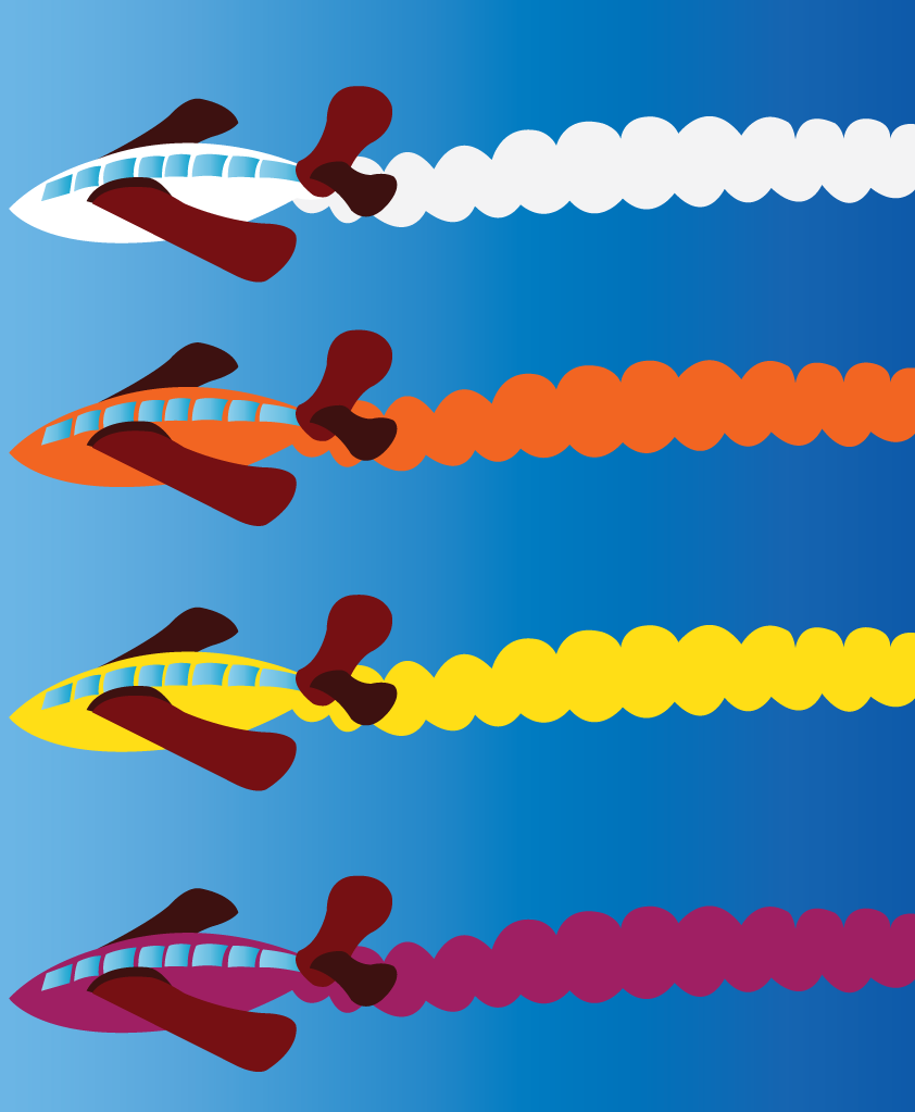 Vector Issue #6650: Aerobatics 2- a bunch of aircrafts doing some aerobatic displays