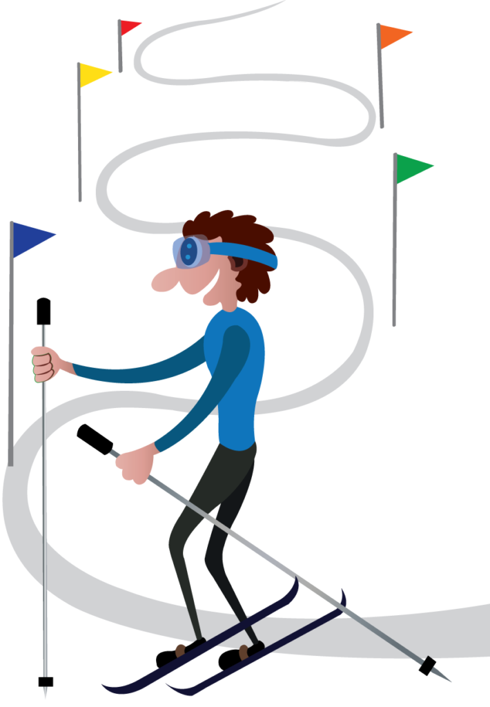 Vector Issue #6133: An alpine skier skiing downhill