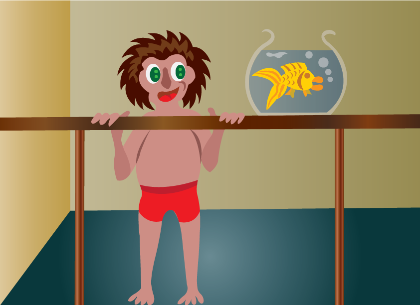 Vector Issue #6454: an ambitious kid looking at a gold fish