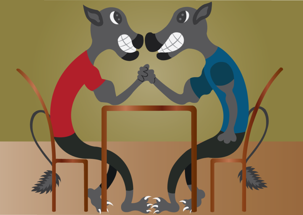Vector Issue #6136: Two big Cats Compete in an arm wrestling contest