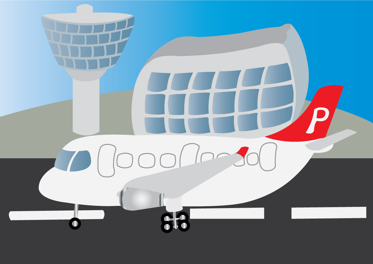 Vector Issue #6617: At the Airport 1-a Passenger Plane Landing at an Airport
