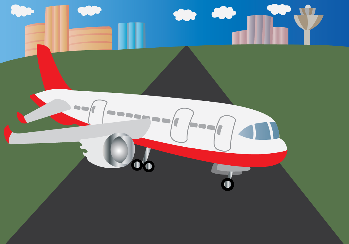 Vector Issue #6620: At the Airport 4-a passenger plane sitting on a runway