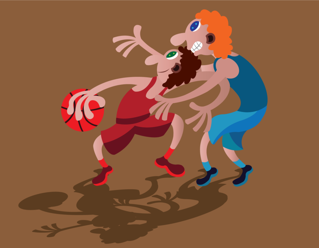 Vector Issue #6142: Two basketball players enjoying their game