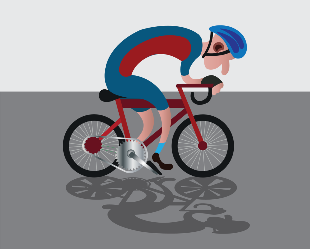 Vector Issue #6143: a racer riding his bike along the highway