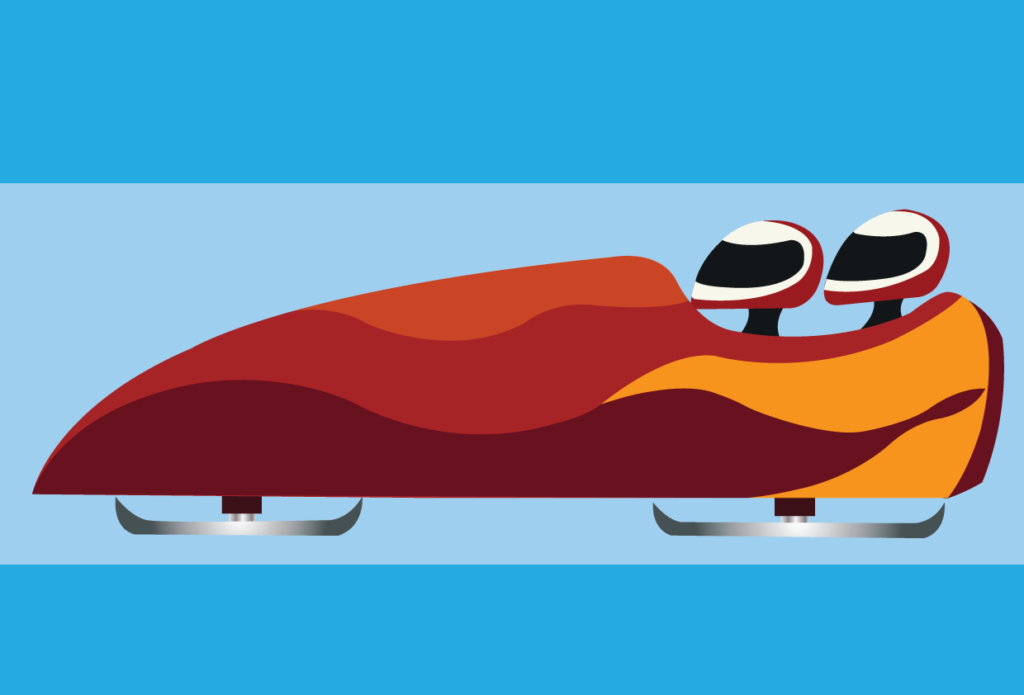 Vector Issue #6145: athletes ride a bobsleigh in an Olympic game,