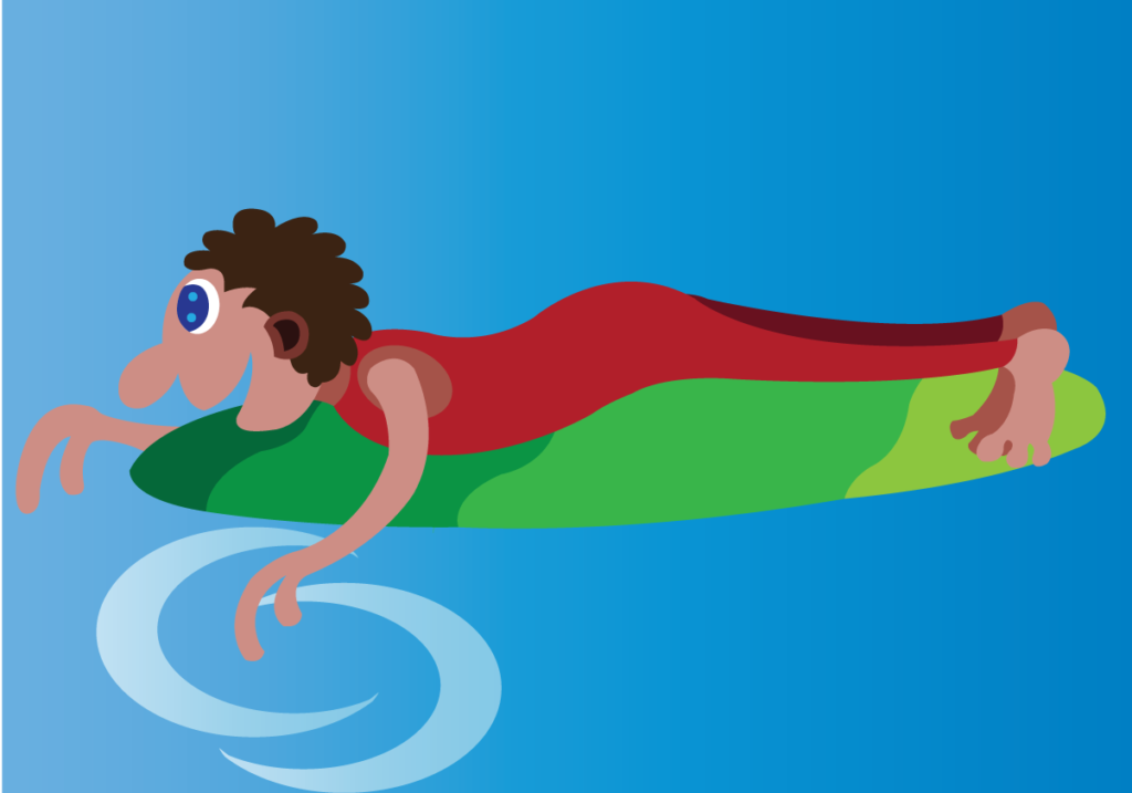 Vector Issue #6146: An athlete doing some water bodyboarding,