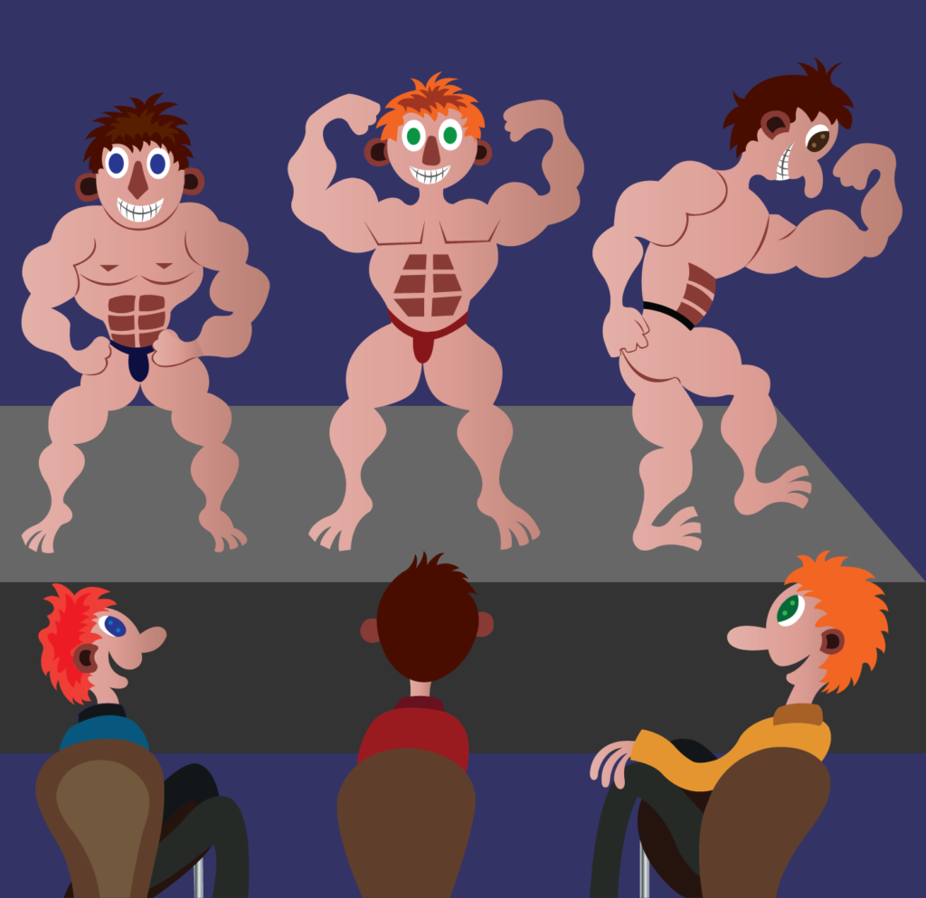 Vector Issue #6272: Bodybuilders show, A group of bodybuilders showing off their muscles in a public competition