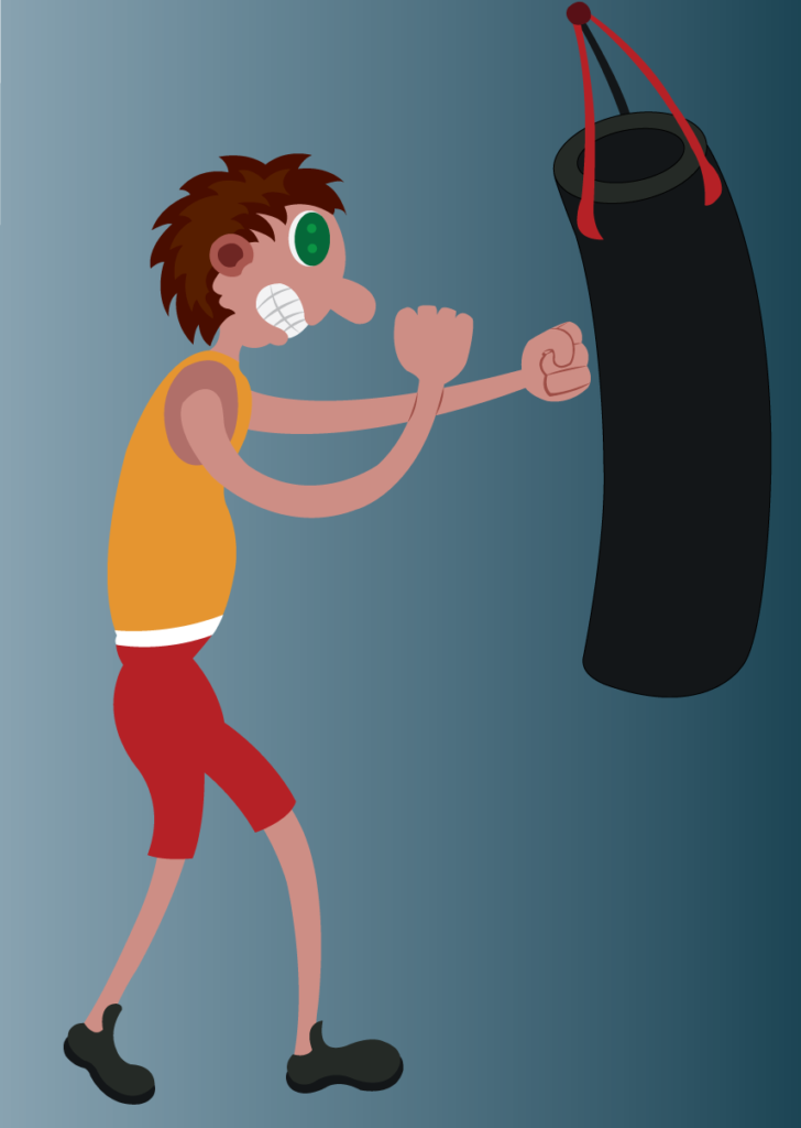 Vector Issue #6149: A boxer training himself with a punch bag