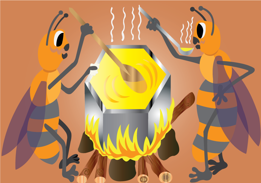 Vector Issue #6417: Brewing Honey, A pair of bees brewing Honey