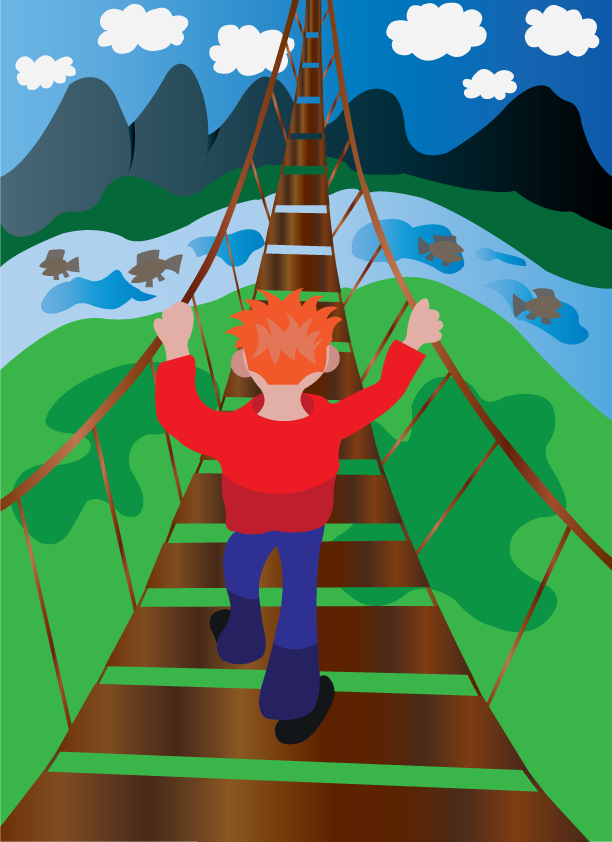 Vector Issue #6418: Bridge in the skies, a junior trying to cross a very very high bridge