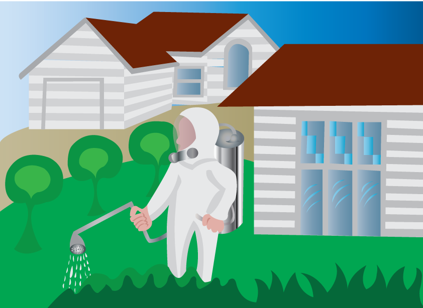 Vector Issue #6420: Bugs killing mission, a homeowner spraying his backyard with insecticide