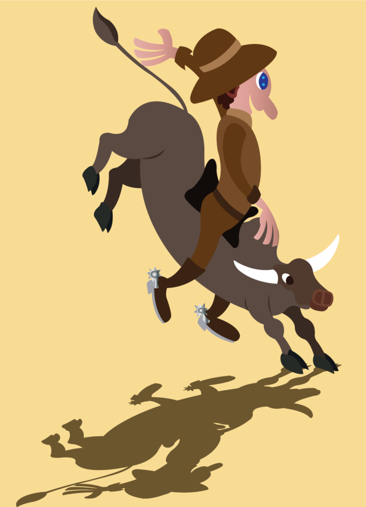 Vector Issue #6151: a bull rider clings onto the back of a fierce raging bull