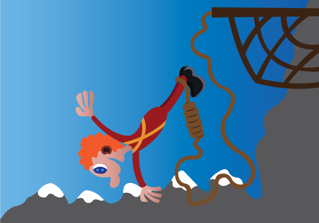 Vector Issue #6152: a bungee jumper jumps from a hilltop