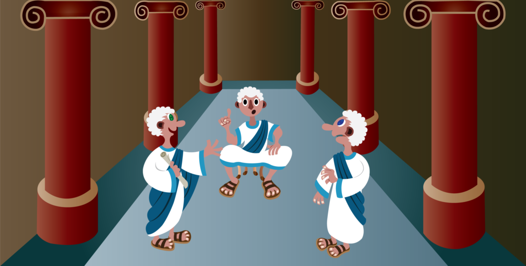 Vector Issue #6273: Emperor Caesar sits on the throne while the senators administer to him,