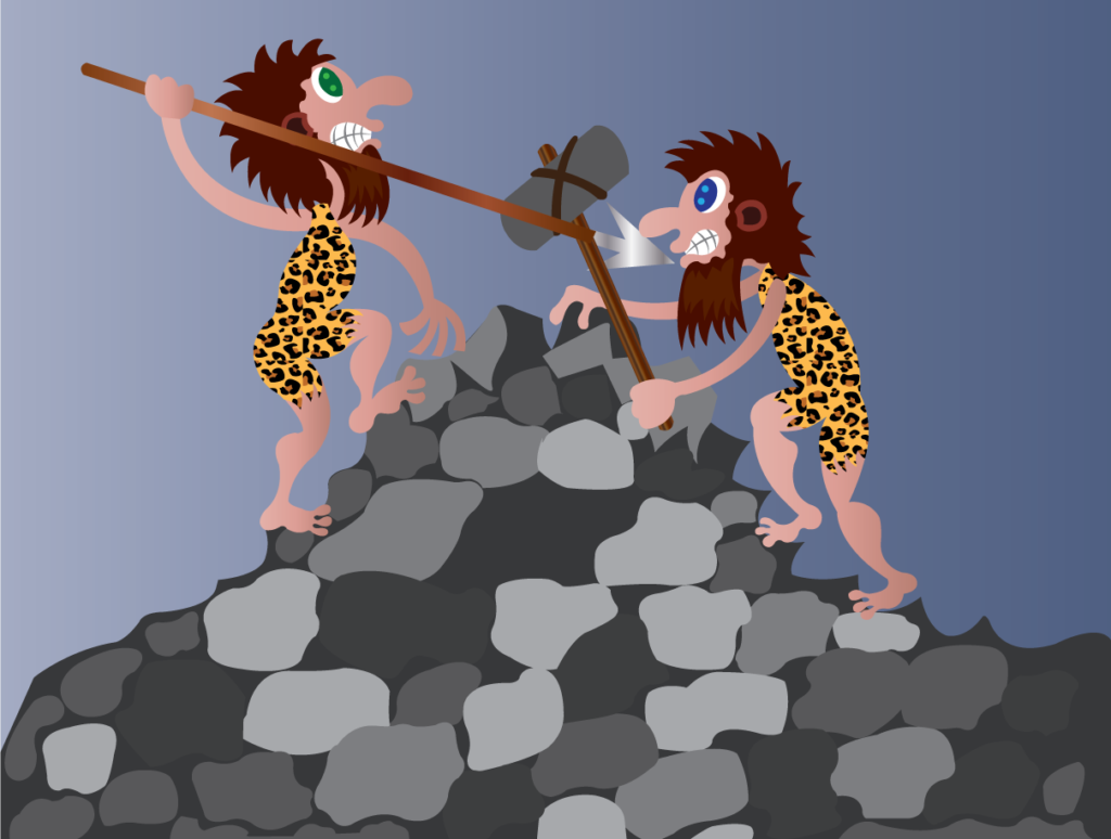 Vector Issue #6275: Cave Men Fight, two cave men fight one another using primitive tools