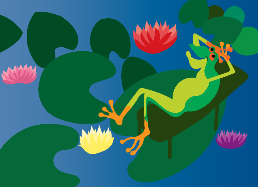 Vector Issue #6422: Chilling out in the pond, a frog relaxing on a water lily in a pond