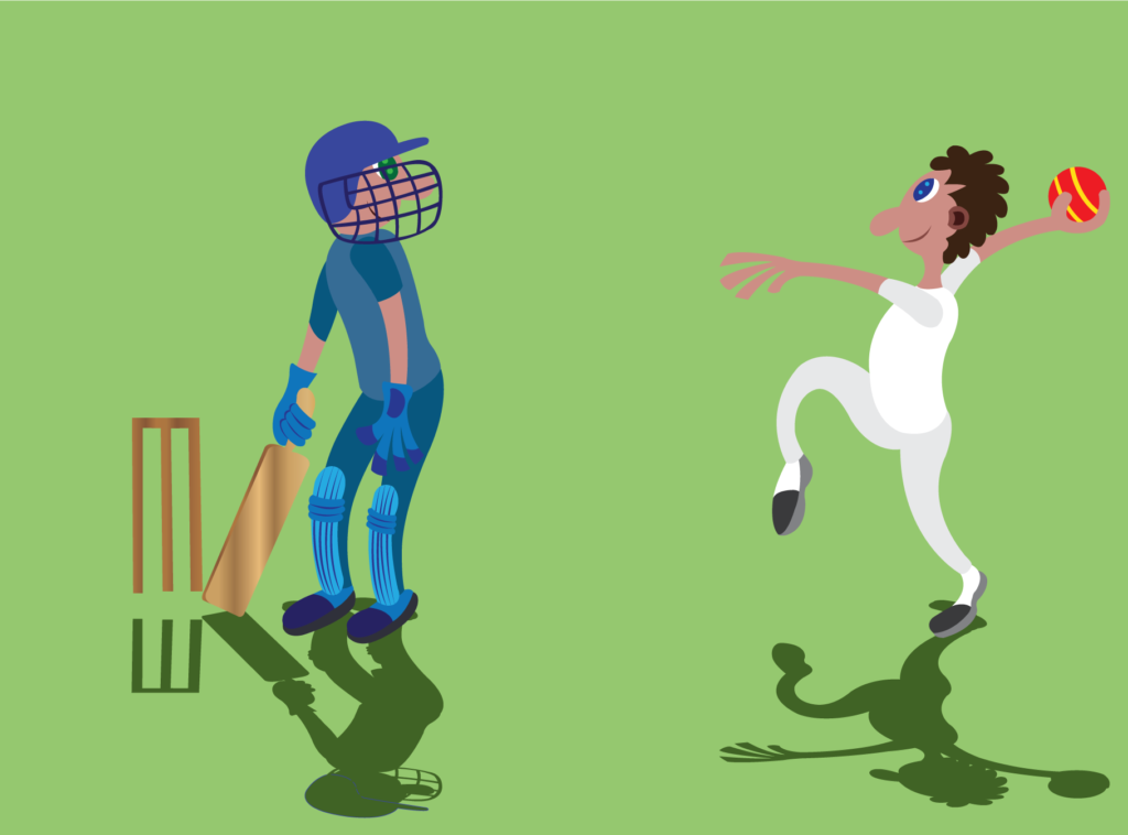 Vector Issue #6153: two cricket players enjoying a match