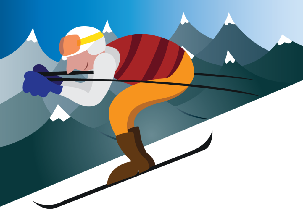 Vector Issue #6155: a sportsman skis down the mountainside,
