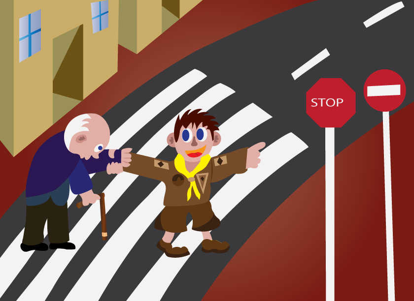 Vector Issue #6424: crossing with the elderly, a boy scout helping an elderly man cross a road
