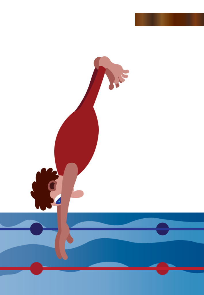 Vector Issue #6158: a professional diver plunging into the water