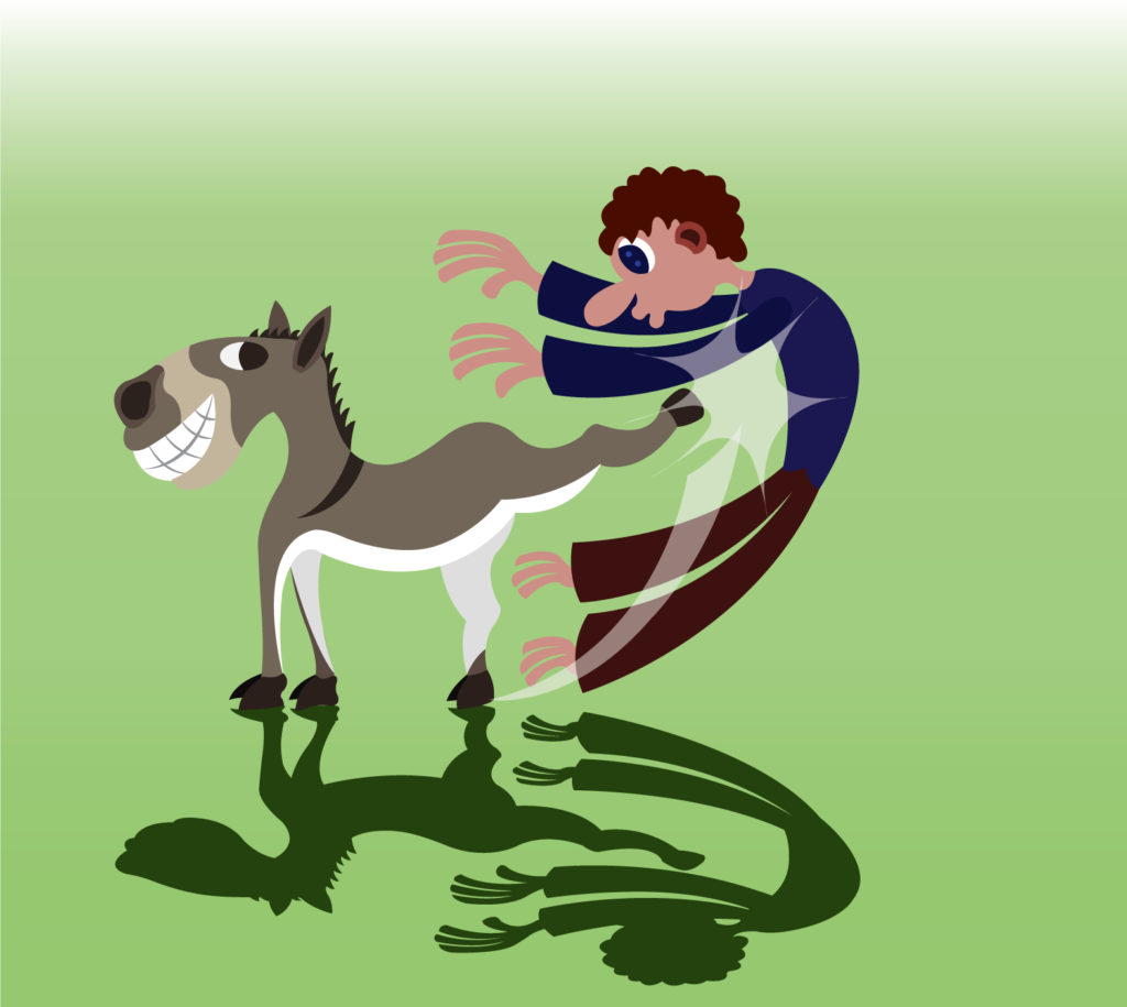 Vector Issue #6288: A donkey gives its owner a very hard kick