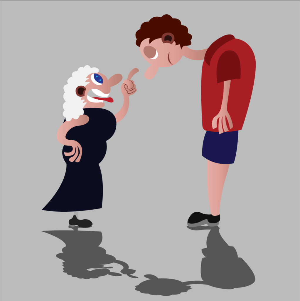 Vector Issue #6294: An angry granny giving her grandchild a tongue lashing