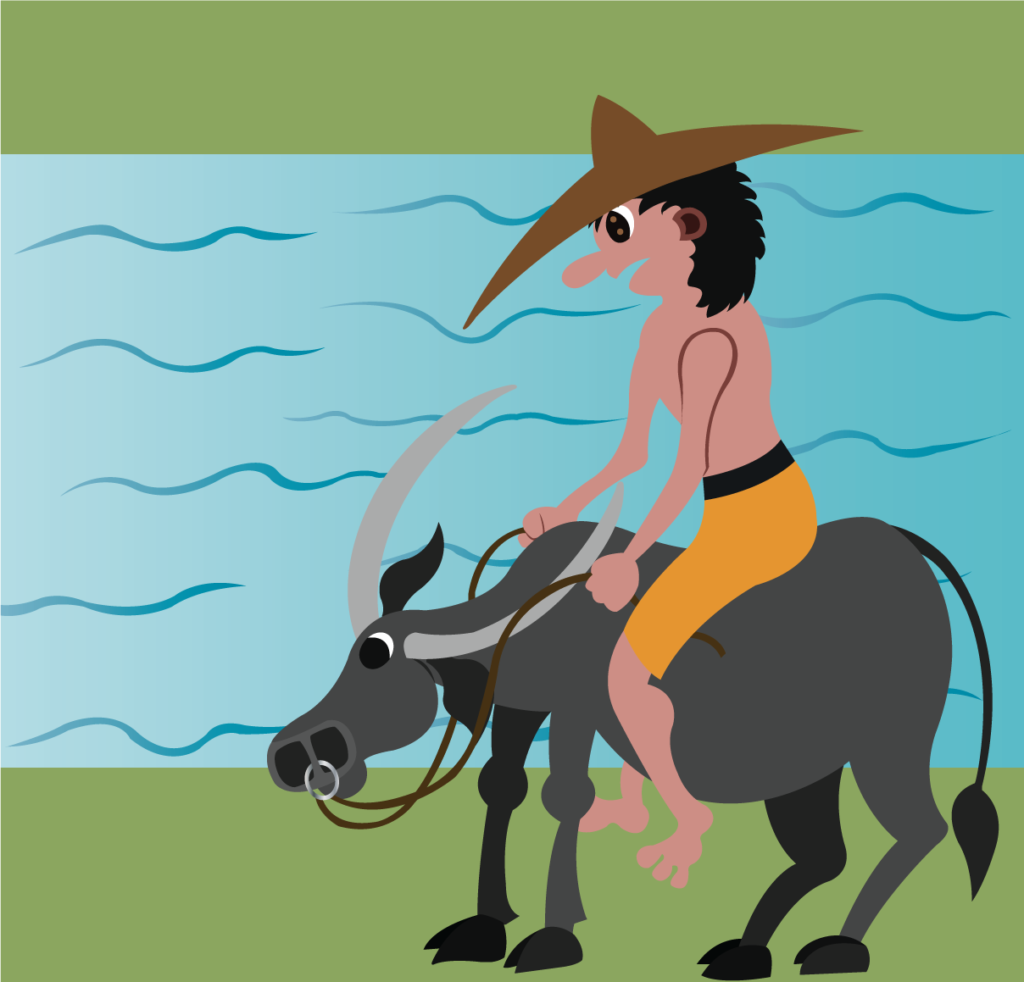Vector Issue #6295: a farmer rides on the back of his water buffalo