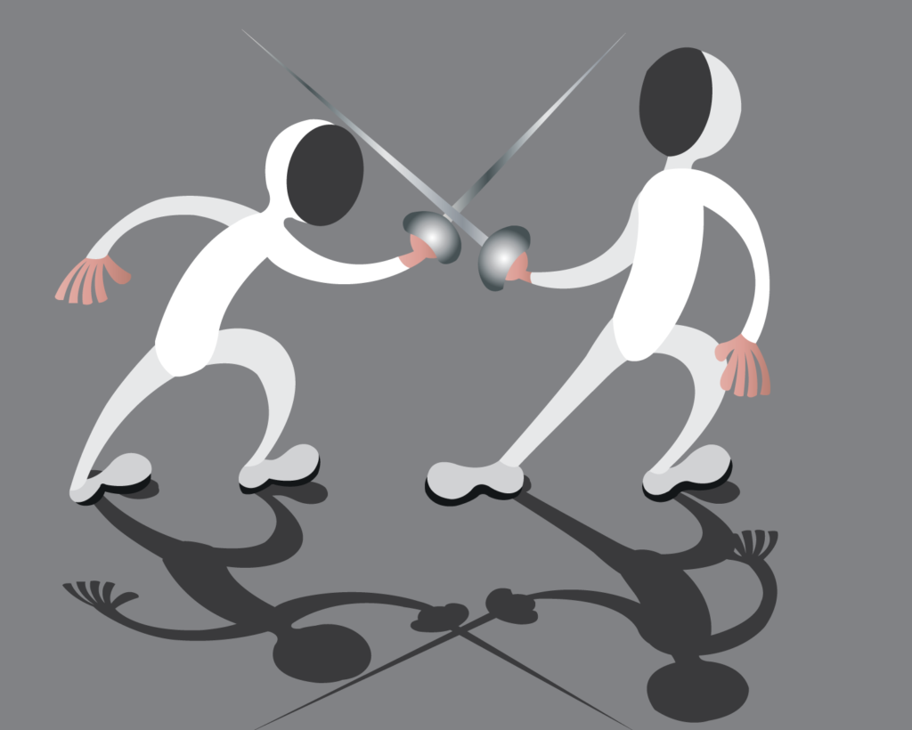 Vector Issue #6159: two fencers in fierce combat