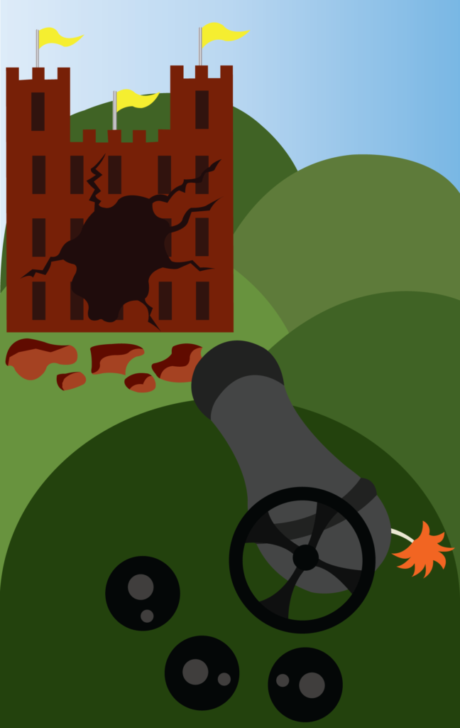 Vector Issue #6296: Firepower of the Cannon, a cannon fire tears through the walls of a mighty fortress
