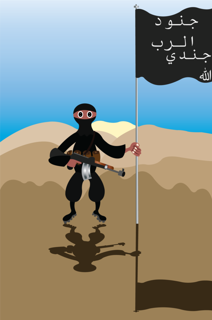 Vector Issue #6297: Flags of the Radicals, an Islamic Extremist stands next to its Jihadi Flag,