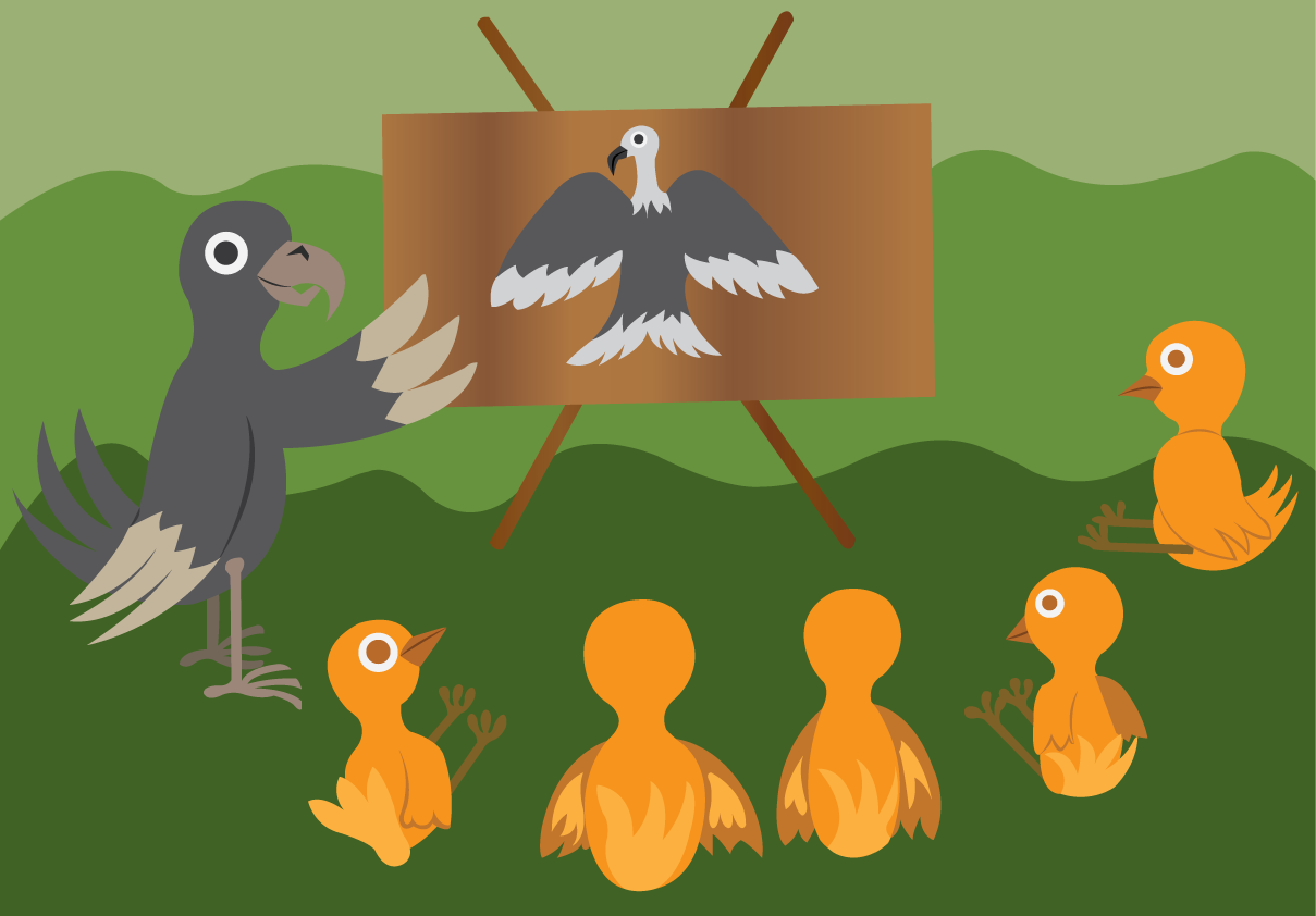 Vector Issue #6509: young birds learning to use their wings from a flight instructor,