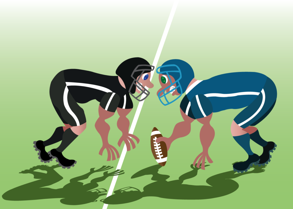 Vector Issue #6163: football players scrum-up at the start of a game