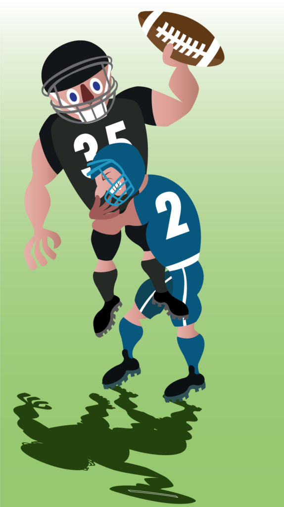 Vector Issue #6164: a football player tackles another player who has the ball,