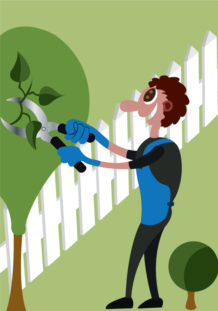 Vector Issue #6053: a gardener pruning his fence
