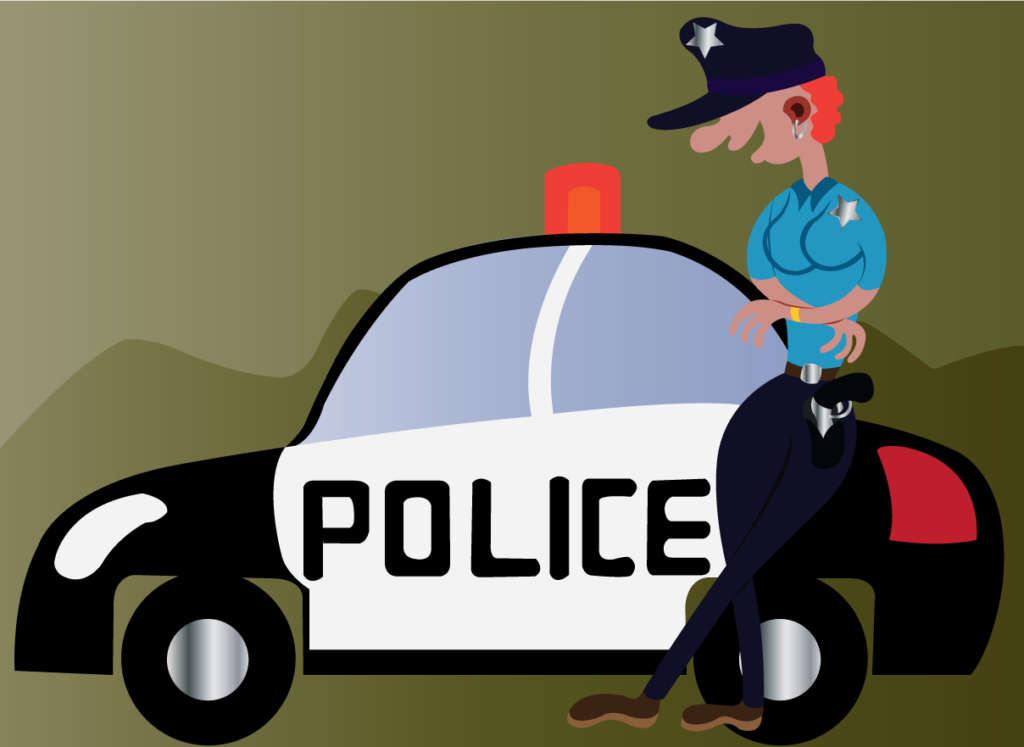 Vector Issue #6055: A girl Cop Standing next to a Police Car