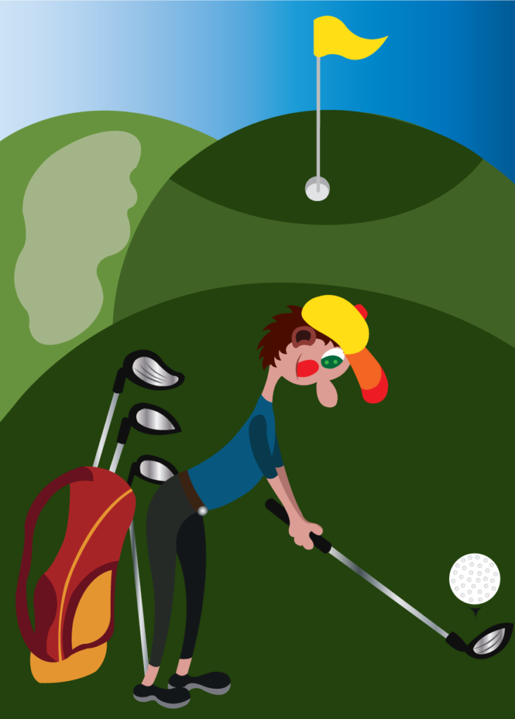 Vector Issue #6168: a professional golf player about to hit a golf on a golf course