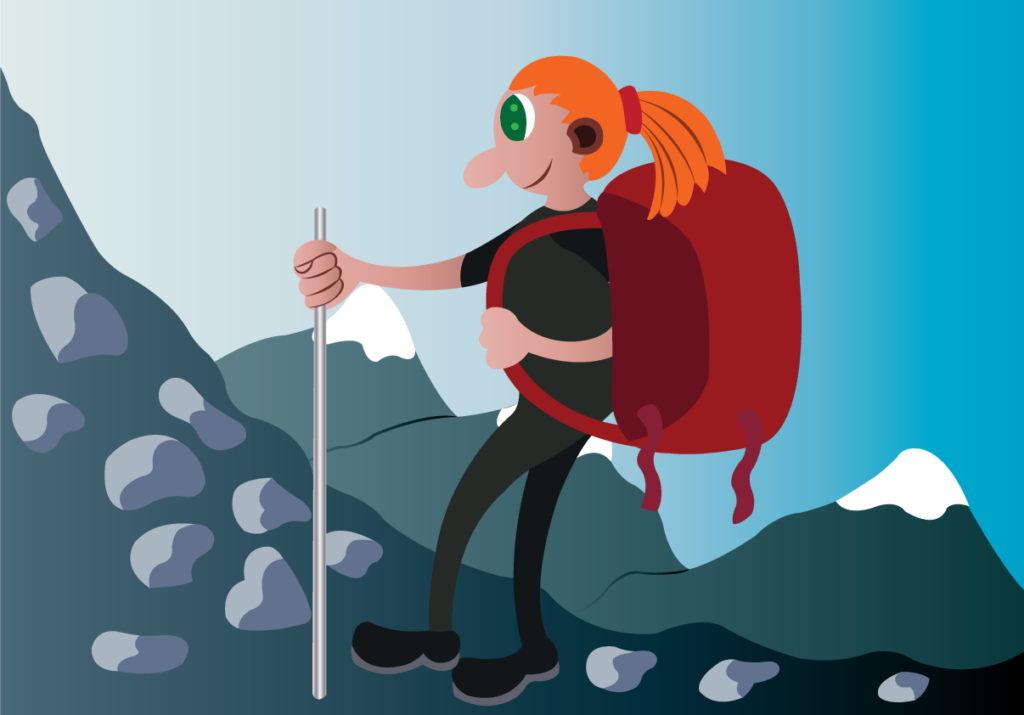 Vector Issue #6174: a hiker trekking the mountains with her equipment