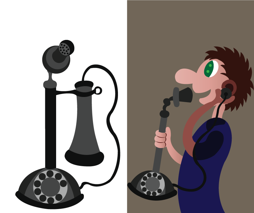 Vector Issue #6302: a person using a very early form of the telephone