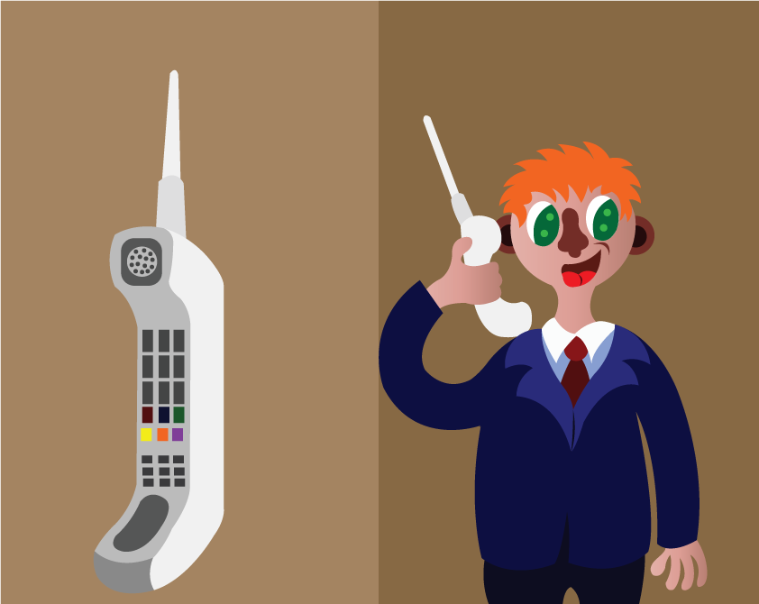 Vector Issue #6304: a person uses a satellite telephone,