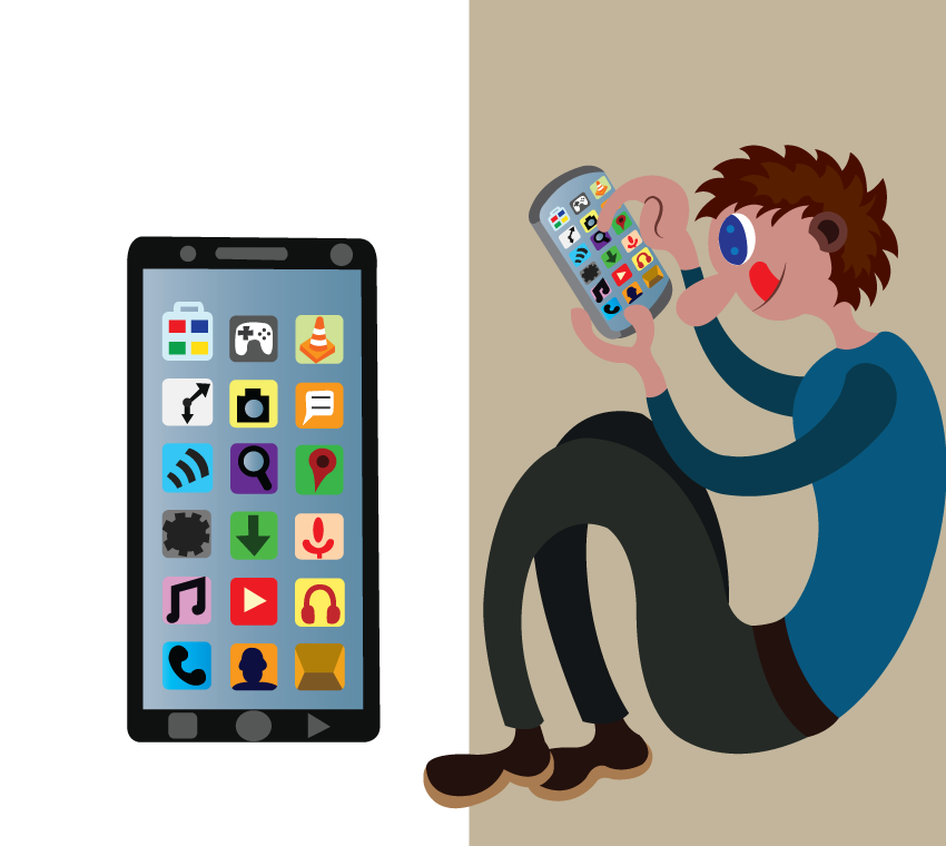 Vector Issue #6305: a junior uses a smartphone