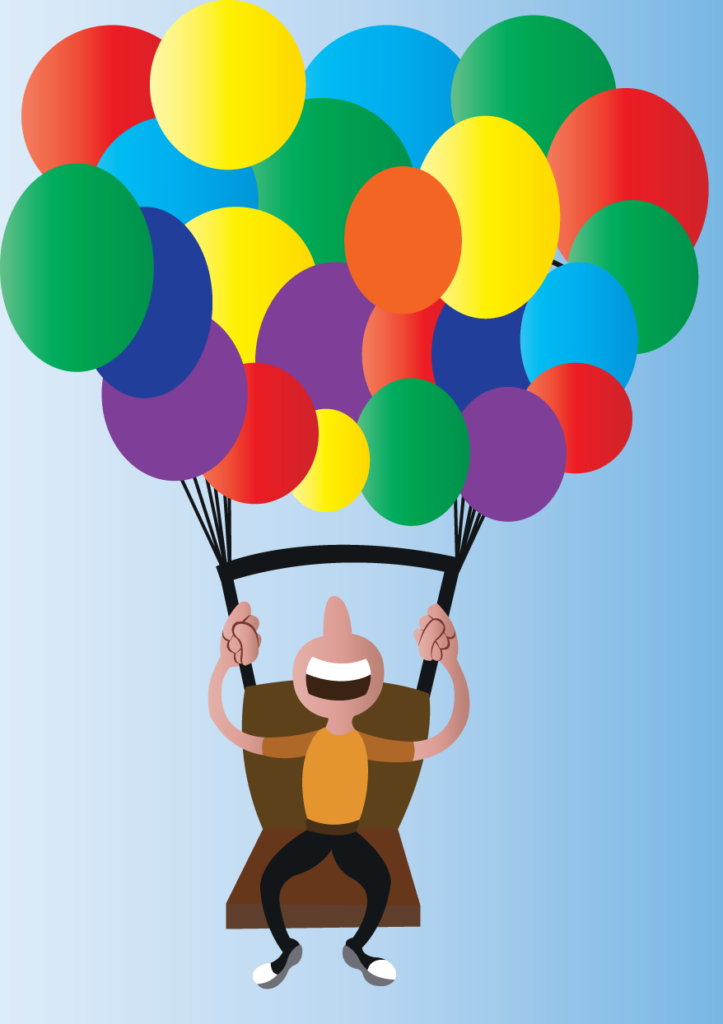 Vector Issue #6175: a balloonist lifted off the ground by his numerous balloons,