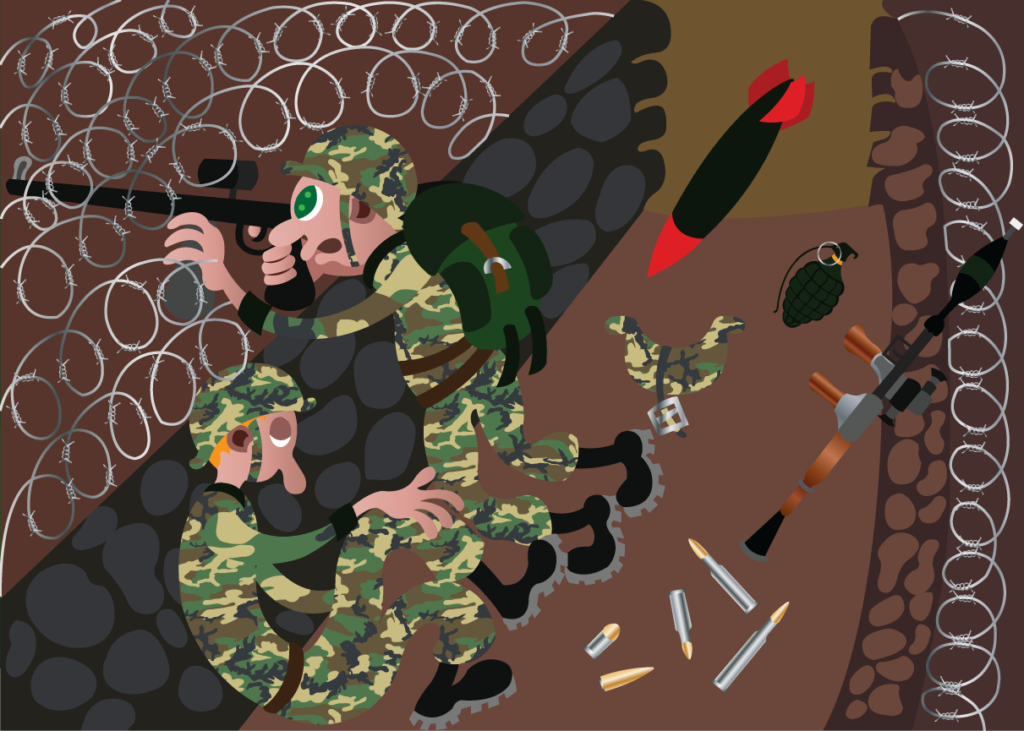 Vector Issue #6306: Two soldiers hold their ground fighting in the trenches