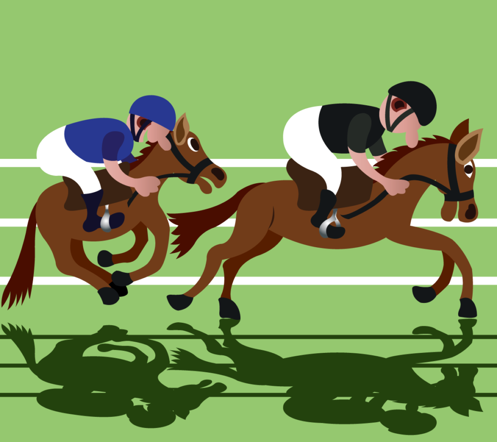 Vector Issue #6176: two jockeys racing for the finishing line