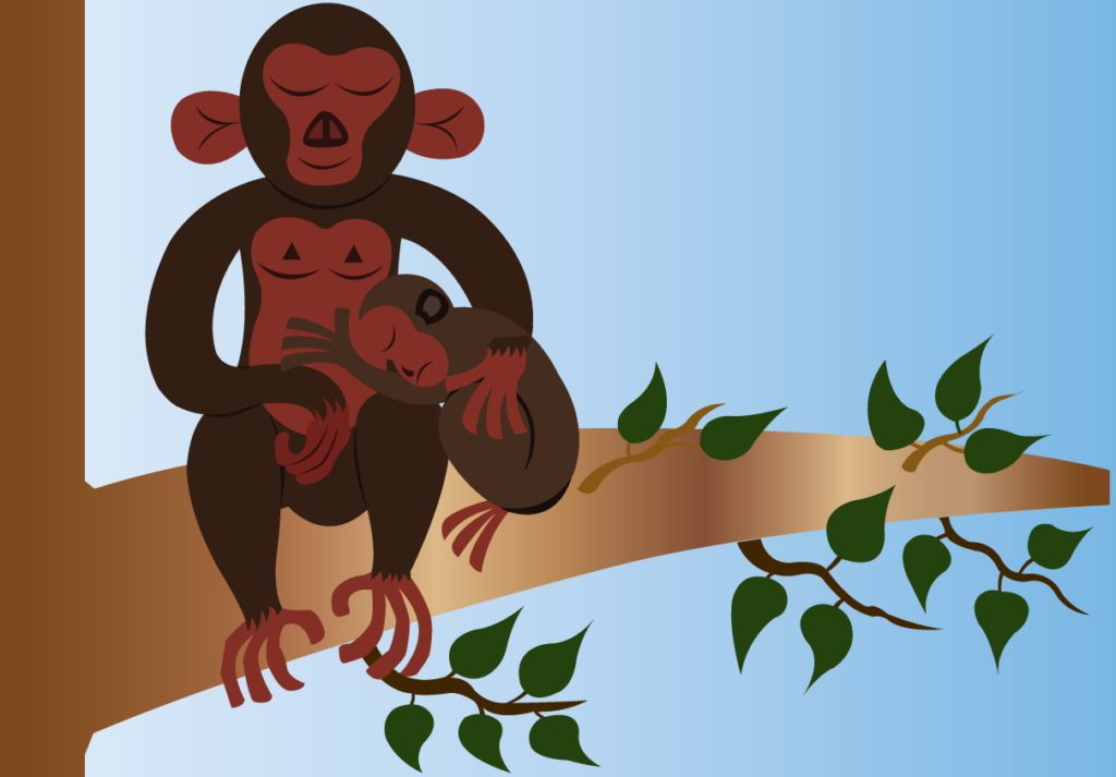 Vector Issue #6309: Hugging For Comfort, a monkey giving its baby a big hug