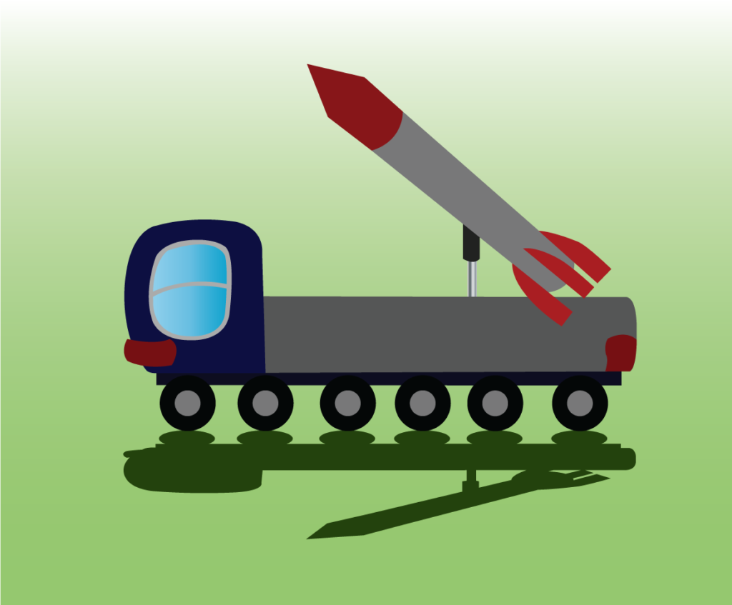 Vector Issue #6310: ICBM, a Ballistic missile raised on its platform ready for launch