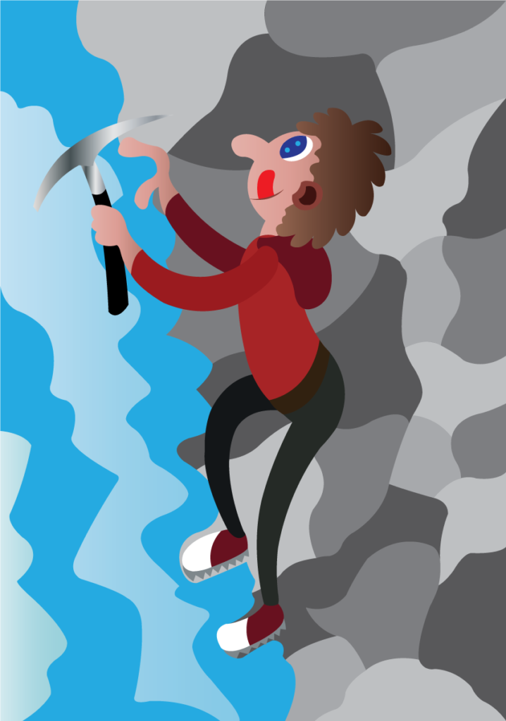 Vector Issue #6178: an ice climber scaling a steep rock face