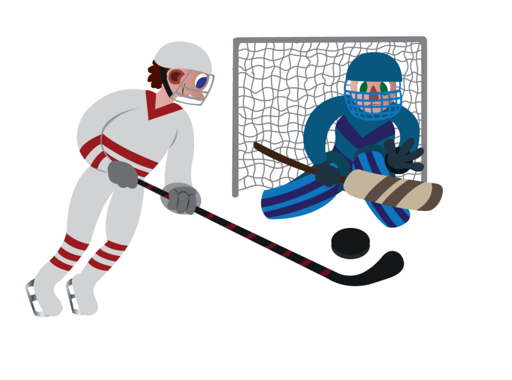 Vector Issue #6179: an ice hockey player about to make a score,