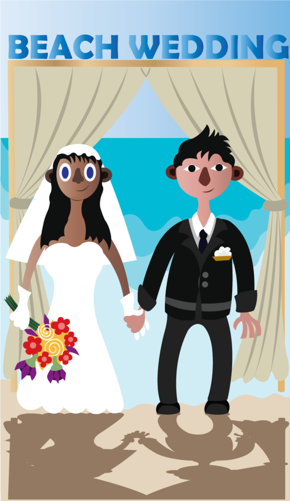 Vector Issue #6311: interracial Couples conduct their wedding on a beach