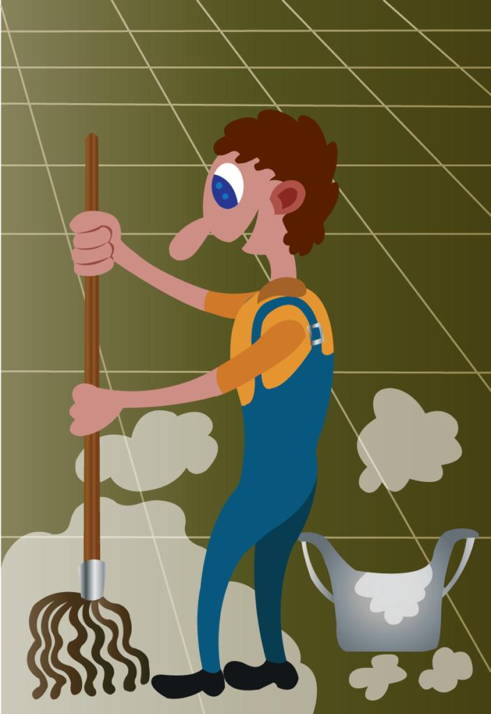 Vector Issue #6056: A janitor cleaning the streets