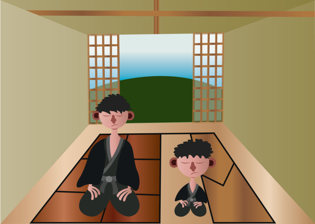 Vector Issue #6312: Japanese Relaxation, Japanese meditators relax in their house,